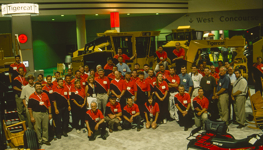 Tigercat's last go at the Atlanta show. Downtown Atlanta wasn't the most logical choice of venue for a logging equipment show. The Tigercat booth staff did not blend in with the crowd.