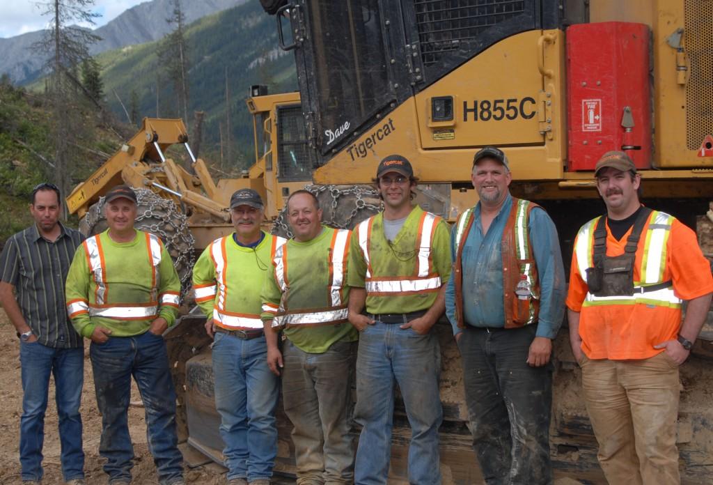Parker-Pacific branch manager for Cranbrook, Dale Felhauer (far left) with the crew of Carl Larson's Enterprise Ltd. (L-R) Lance Larson, Ivar Larson, David Deveau, Jory Langridge, Bob Findlay and George Barbour.
