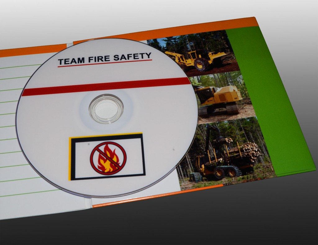"An instructional DVD with a ""No Fire"" Symbol and the words ""Team Fire Safety"""