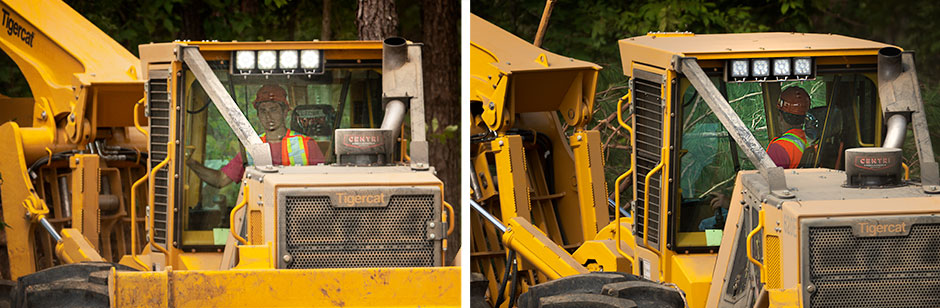 Two closeup images of a Tigercat Skidder cab. In one image the operator is facing the rear of the machine in his seat, in the other image he is facing the front of the machine in his turnaround seat.