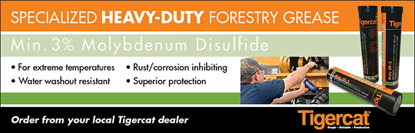 Specialized Heavy-Duty Forestry Grease: Min. 3% Molydenum Disulfide. For extreme temperatures, rust/corrosion inhibiting, water washout resistant, superior protection. Order from your local Tigercat dealer.
