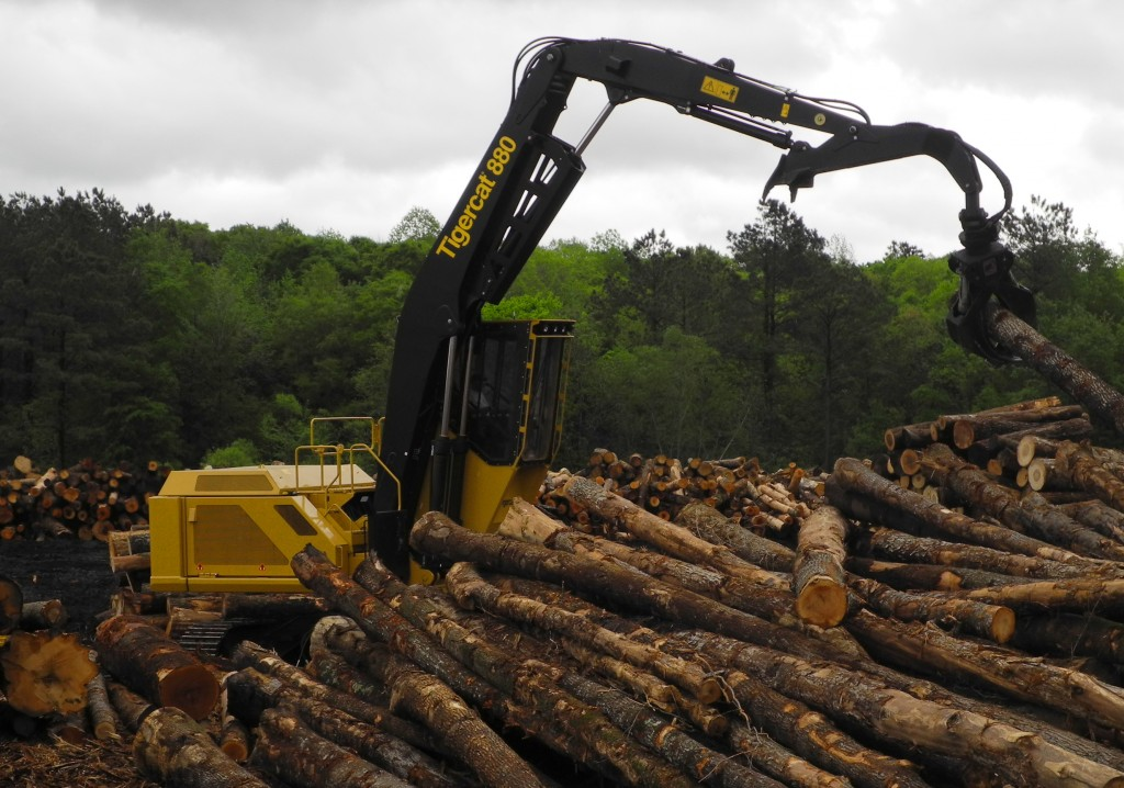 An 880 logger surrounded by cut-to-length logs in a Georgia mill yard.