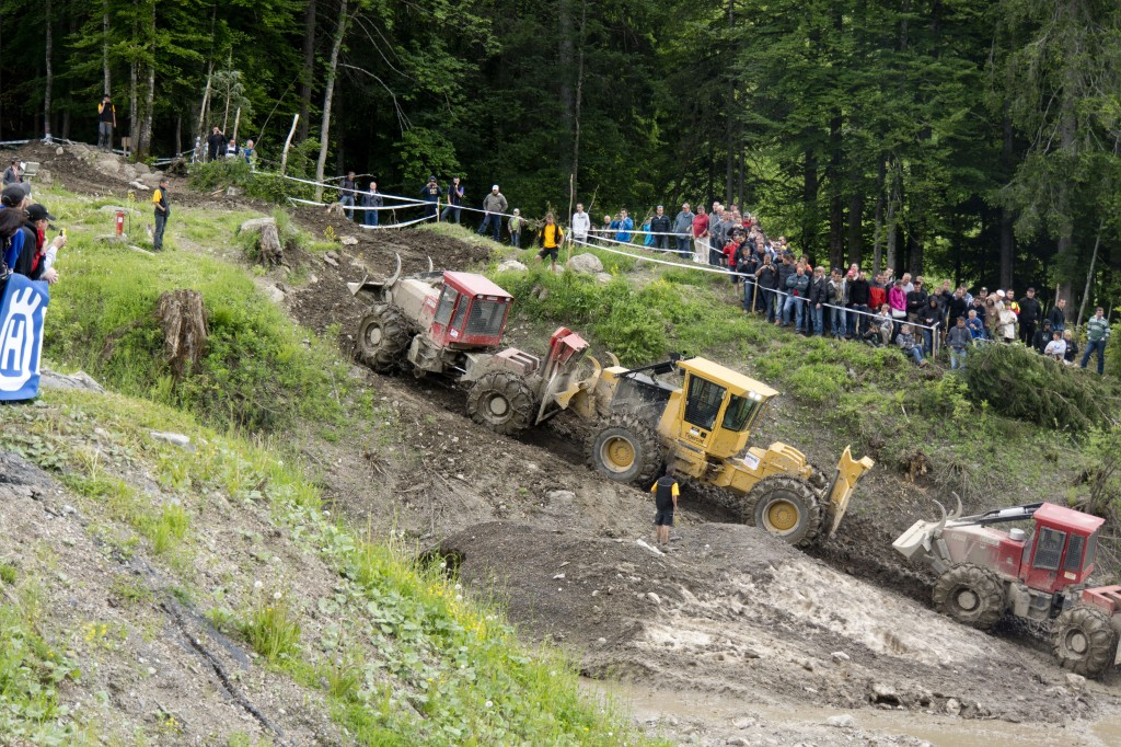 Pushing the competition; a Tigercat skidder competes against competitor models.