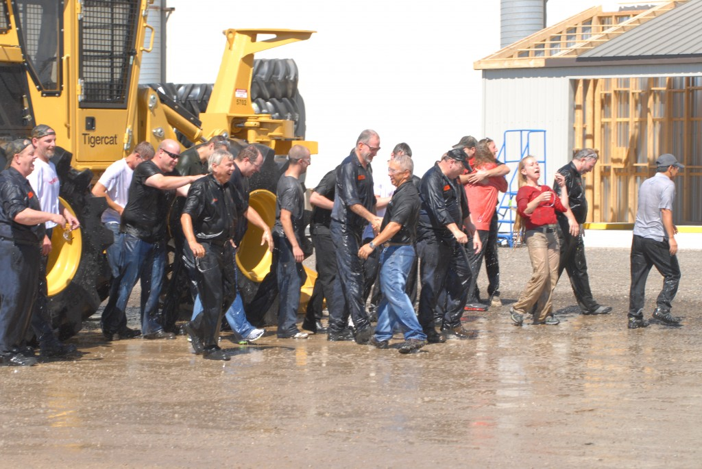 The amusing aftermath of Tigercat staff getting soaked with ice-cold water on a chilly day in late August.
