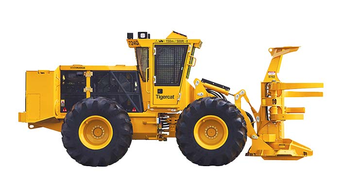 724G drive to tree Feller Buncher