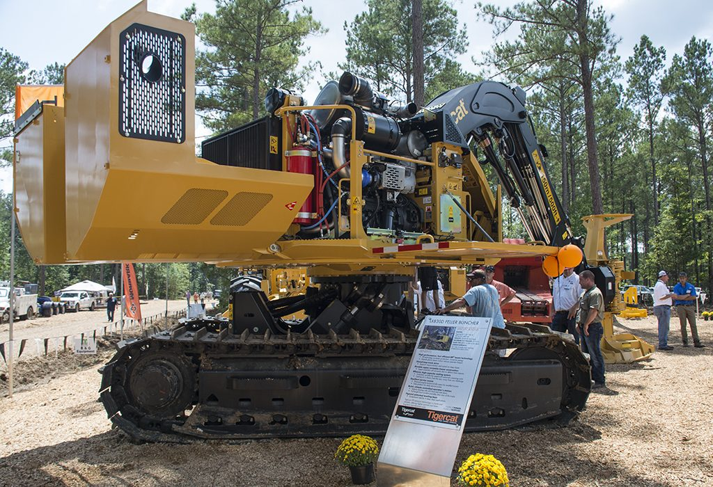 The new Tigercat FPT powered LX830D track feller buncher on display at a static show.