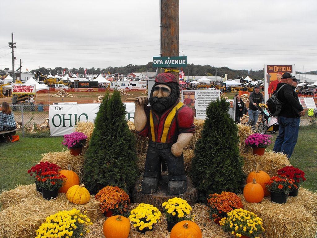 A decorated carving of giant folklore lumberjack Paul Bunyan.