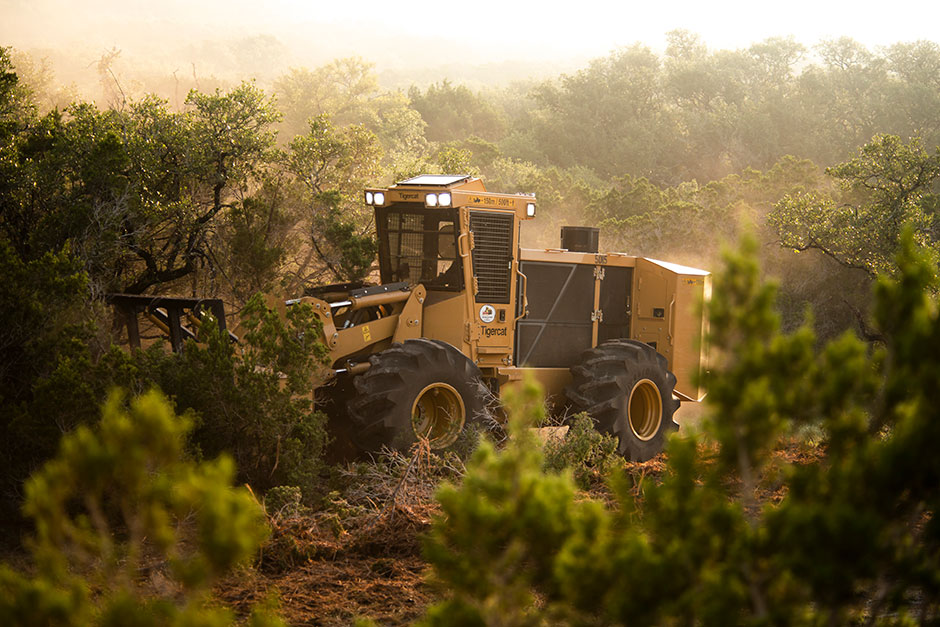 The Tigercat M726G Mulcher tackles brush with ease.